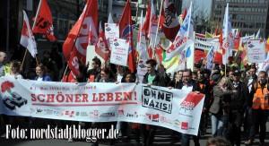 1.Mai-Demo des DGB für soziale Gerechtigkeit und gegen Rechtsextremismus in Dortmund. Foto: Alex Völkel