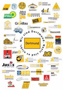 """""""Wir sind Dortmund. Nazis sind es nicht."""" sagen 50 Dortmunder Verbände, Vereine, Institutionen, Firmen. Plakat: Planerladen"""