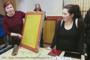 Fachhochschule vor Ort verabschiedet sich von den kreativen Projekten in der Nordstadt. Siebdruckwerkstatt mit Freya Tiedtke und Frederike Becker