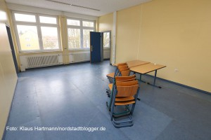 In Eving wurde der Bevölkerung die Flüchtlingsunterkunft in der ehemaligen Hauptschule vorgestellt. Dieser Raum wird ein Familienzimmer
