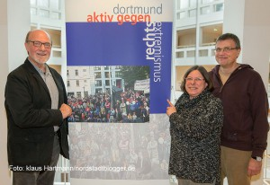 Koordinierungsstelle für Vielfalt, Toleranz und Demokratie im Rathaus Dortmund. V.l.: Hartmut Anders-Hoepgen, Birgit Miemitz und Michael Plackert