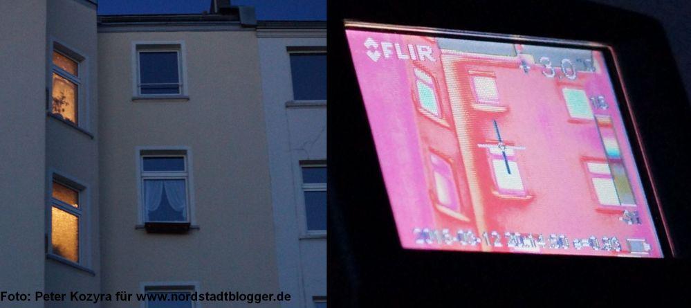 Eine Hausfassade im Vergleich, links im Dortmunder Abendhimmel, rechts in der thremografischen Ansicht.