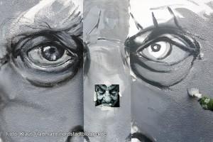 Mauer Galerie, Streetart 2015 in der Weißenburger Straße am Kraftwerk. Arbeit in Realisierung mit Vorlage