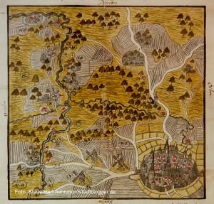 Die Münsterstraße, Dortmunds buntes Pflaster, Ausstellung im MKK. Die Karte aus dem Jahre 1609 zeigt schon den bis heute charakteristischen Straßenverlauf der Münsterstraße, links unten.