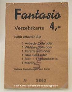 Die Münsterstraße, Dortmunds buntes Pflaster, Ausstellung im MKK. Verzehrkarte des Fantasio. Die Szenegetränke zu Beginn der siebziger Jahre