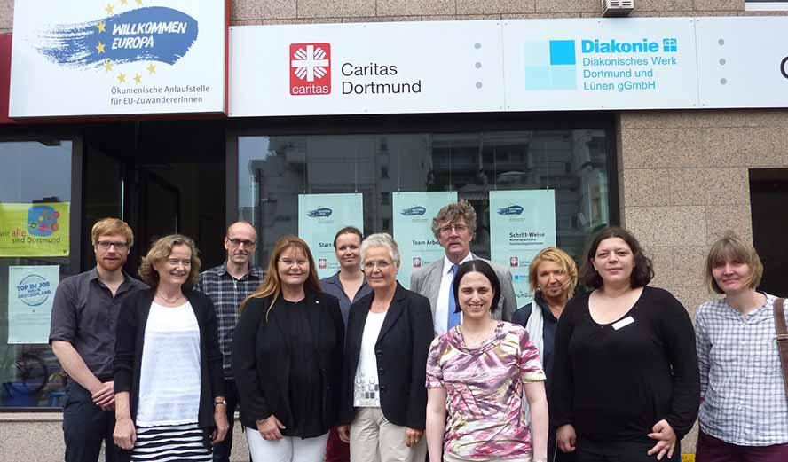 Maria Loheide (4.v.Li.), die zum dreiköpfigen Vorstand der Diakonie Deutschland gehört, war mit einer Delegation zu Besuch.