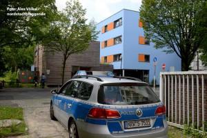 Alltag: Polizeipräsenz vor dem Kindergarten der Jüdische Gemeinde.