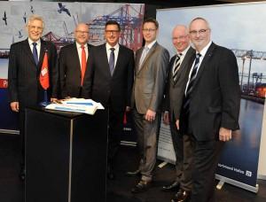 Volker Hahn (HHM), Axel Mattern (HHM), Uwe Büscher (Dortmunder Hafen AG), Lutz Birke (HPA), Detlef Raphael (Deutscher Städtetag) und Ingo Egloff (HHM) (v.l.)