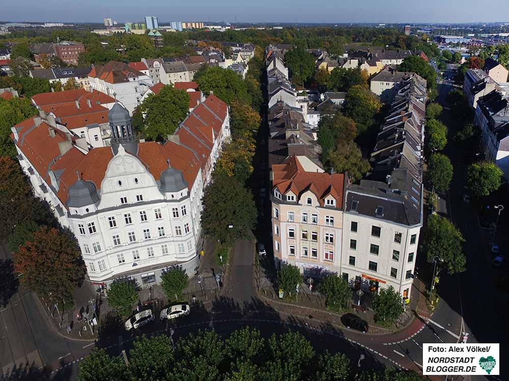 Das Concordia-Haus am Borsigplatz mit dem Quartier und der Westfalenhalle im Hintergrund. Foto: Alex Völkel