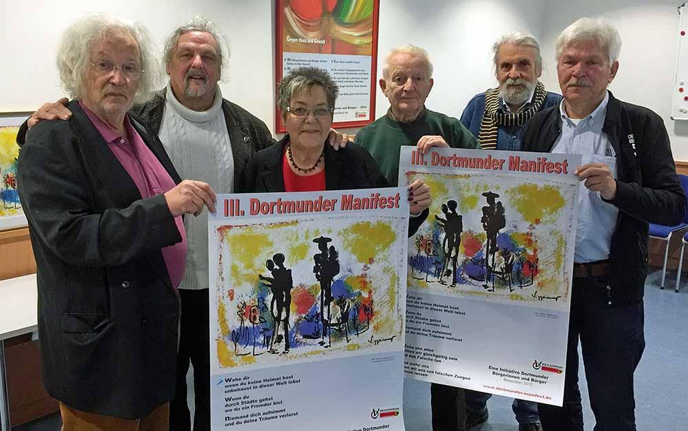 Stellten das III. Dortmunder Manifest vor: Walter Liggesmeyer, Georg Masalsky, Gerda Kieninger (SPD-MdL), Udo Fischer, Gerhard Otto und Georg Deventer. Foto: Joachim vom Brocke
