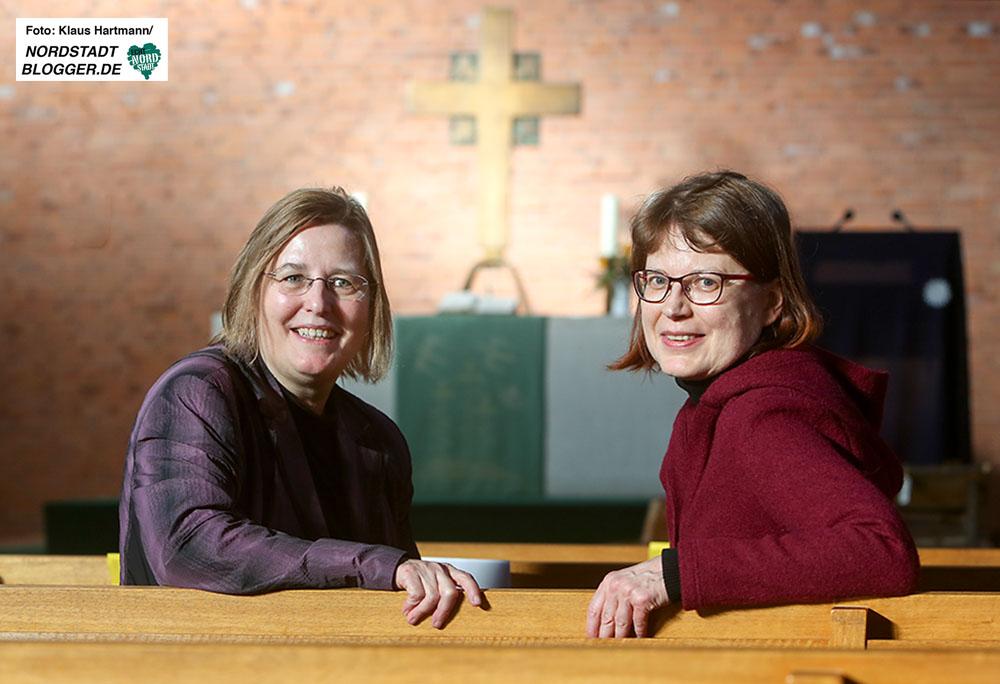 Evangelische Lydia-Gemeinde, Markus-Kirche. Pfarrerinnen Birgit Worms-Nigmann und Carola Theilig