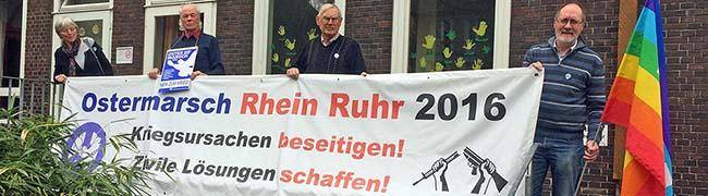 """Motto des Ostermarsch Rhein-Ruhr: """"Fluchtursachen erkennen, zivile Lösungen für Konflikte schaffen"""""""