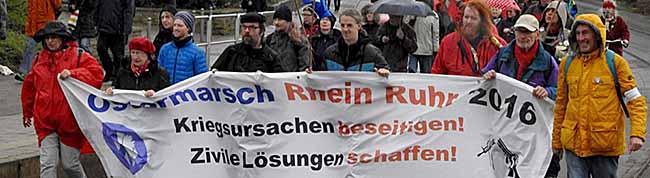 Dreitägiger Ostermarsch der Friedensbewegung endet Montag in Dortmund – Aktion gegen rechte Gewalt in Dorstfeld