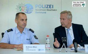 Polizei-PK mit Andreas Wien (Leiter Vorbereitungsstab) und Polizeipräsident Gregor Lange.