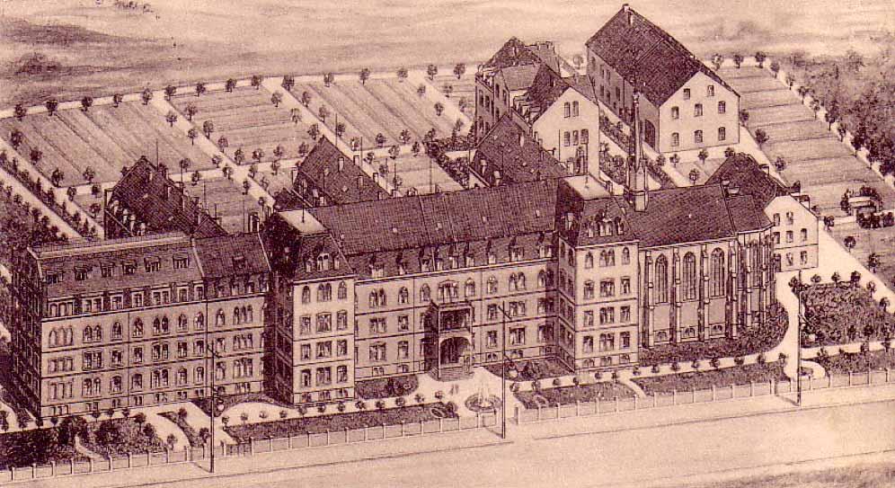 Die Gesamtansicht des Krankenhauses von der Burgholzstraße um 1910.