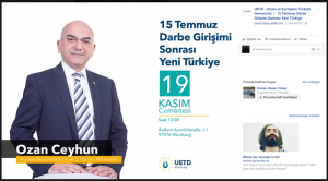 Der Politiker Ozan Ceyhun tritt bei einer Veranstaltung der UETD in einer DITIB-Moschee auf. (Screenshot)