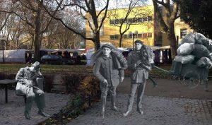 Schüler der Rheinisch-Westfälischen Realschule, LWL-Förderschule, haben Menschen aus Fotos von Erich Grisar und aktuelle Bilder aus der Nordstadt zu Collagen zusammengefügt. Foto: LWL