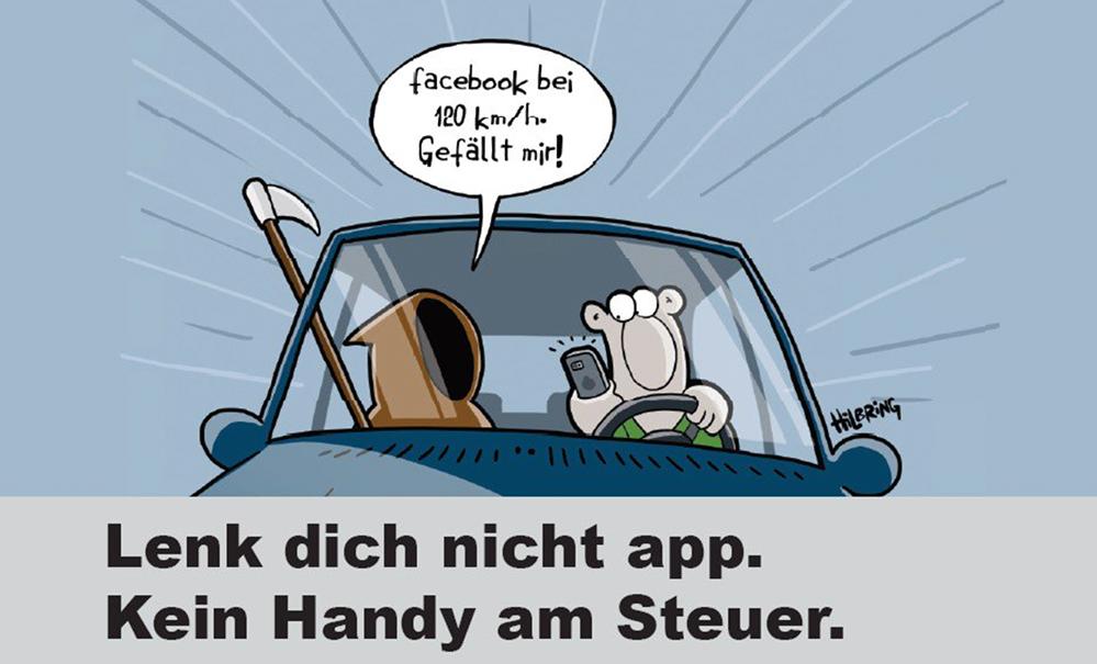 """Aufklärung und Prävention steht im Rahmen der aktuellen Kampagne """"Lenk dich nicht app"""" im Mittelpunkt. Bild: Polizei"""