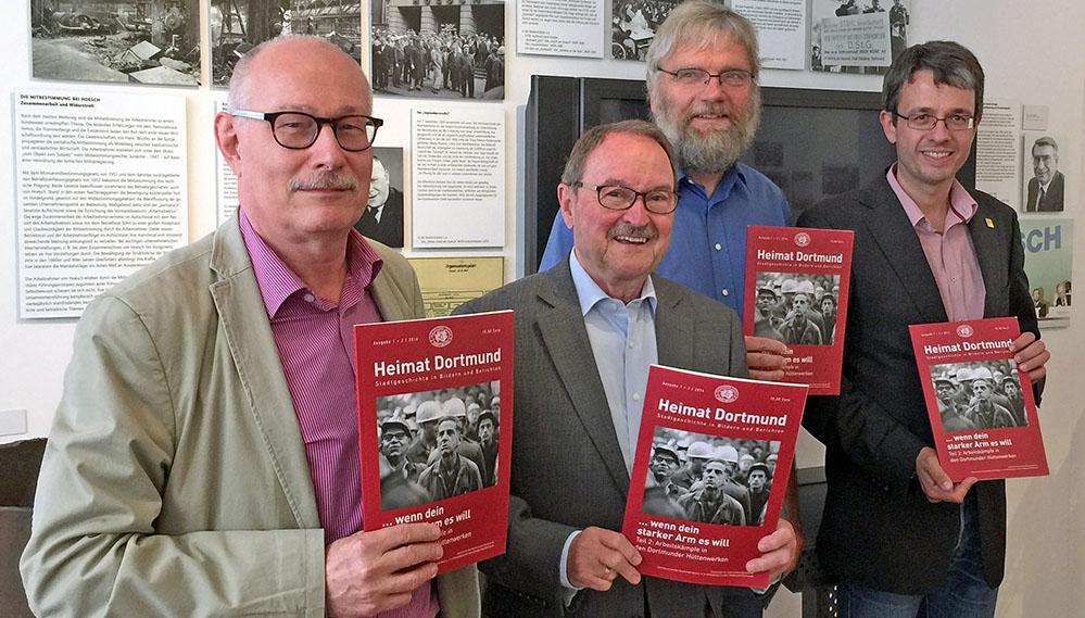 Mit den jüngsten Arbeitskämpfen beschäftigt sich die neue Ausgabe von Heimat Dortmund, vorgestellt von Prof. Karl Lauschke, Adolf Miksch, Horst Delkus und Dr. Stefan Mühlhofer. Fotos: Joachim vom Brocke