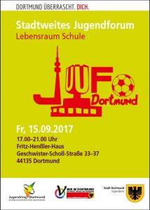 Das Jugenforum findet am Freitag (15. September) statt. Flyer: Stadtweites Jugendforum Dortmund