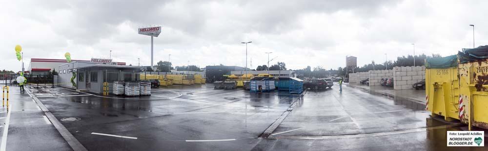 Panorama-Blick über das Gelände des Recyclinghofes Hacheney in Dortmund.