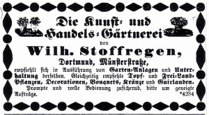 Inserat der Gärtnerei in der Dortmunder Zeitung vom 18.Mai 1878.