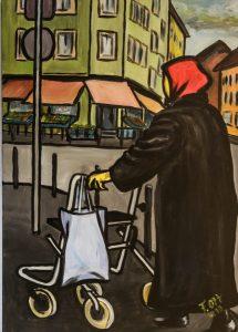"""Arbeit von Franz Ott. Titel: """"Einkaufsbummel im Norden"""" - Acryl auf Leinwand"""