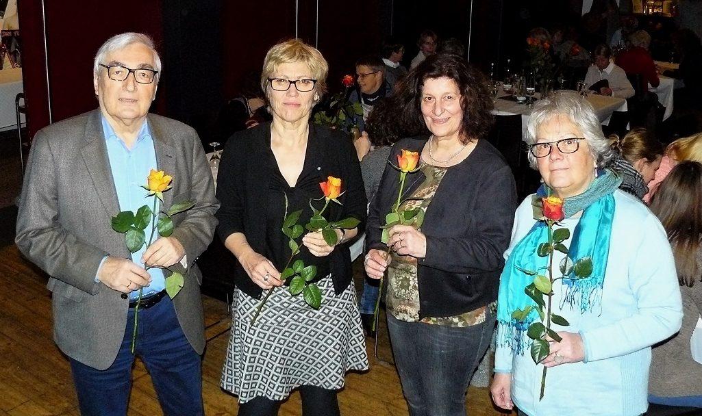 50 Jahre Kinderschutzbund Dortmund e.V., v.l. Dr Matthias Albrecht, Vorstand, Ehrengast Schuldezernentin Daniela Schneckenburger, , Martina Furlan, Geschäftsführung, Sophie Graebsch-Wagener