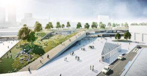 Die nördliche Seite des Hauptbahnhof im Entwurf der Architekturbüros Raumwerk