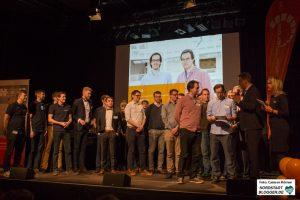 """Team ViSenSys GmbH bei der Verleihung des 3. Platzes beim start2grow """"Pitch and Party""""-Abend."""