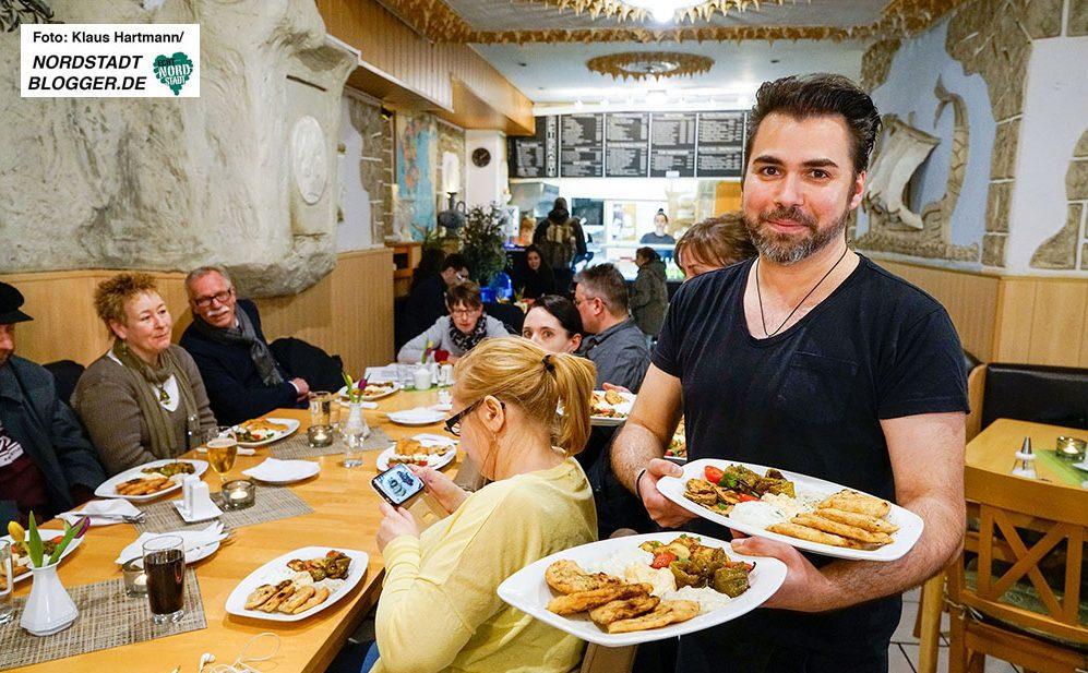 Gastro-Safari durch das Hafen-Quartier mit den Borsigplatzverführungen, Anette Plümpe und Annette Kritzler. Griechischer Vorspeisen-Teller im Hellas-Grill