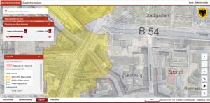 Liegenschaftskataster überblendet mit Luftbildern des RVR Nähe Südwall