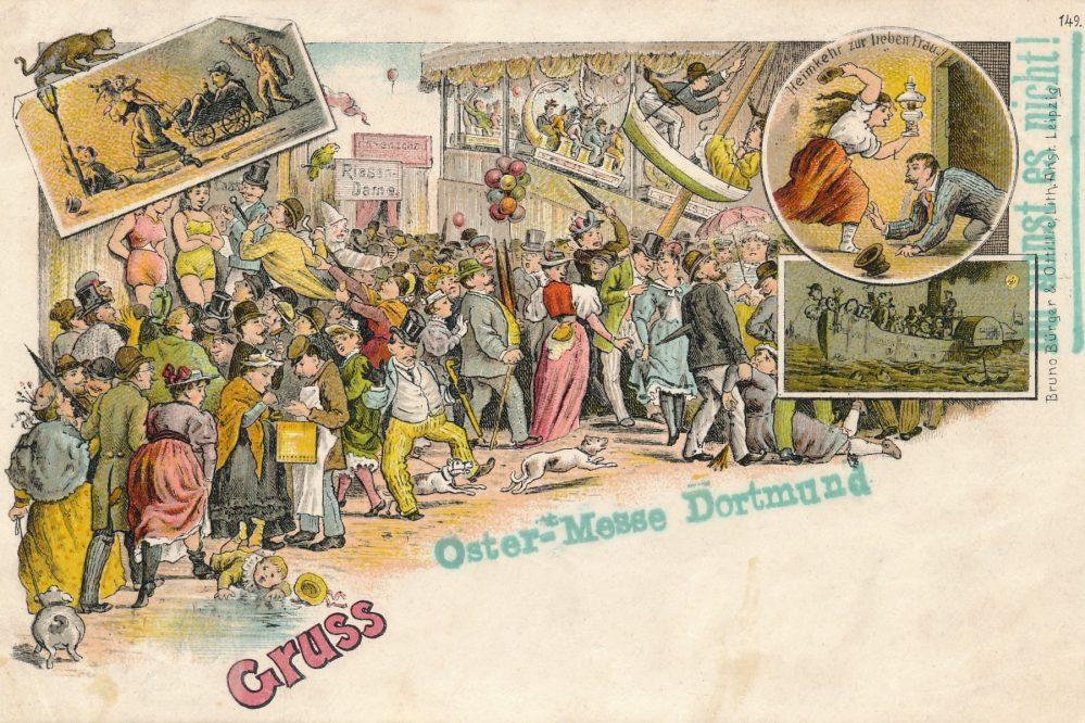 """Scherzkarte mit Kirmes-Motiv und Zusatzstempel """"Oster-Messe Dortmund"""". Die Karte wurde am 13. April 1898 in Dortmund abgestempelt. Bild: Sammlung Klaus Winter"""