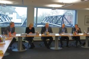 V.l.: Jens Flintrop, (Pressesprecher der KVWL), Anke Richter, Dr. Wolfgang-Axel Dryden, Dr. Mani Rafii und Prof. Daniel Grandt.