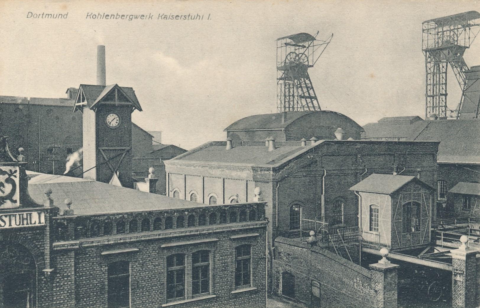 Zeche Kaiserstuhl, Schacht I, von Süden um 1915. Bild: Sammlung Klaus Winter