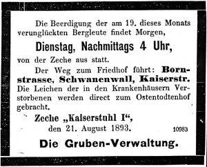 Zeitungsinserat der Verwaltung der Zeche Kaiserstuhl zur Beisetzung der Verunglückten